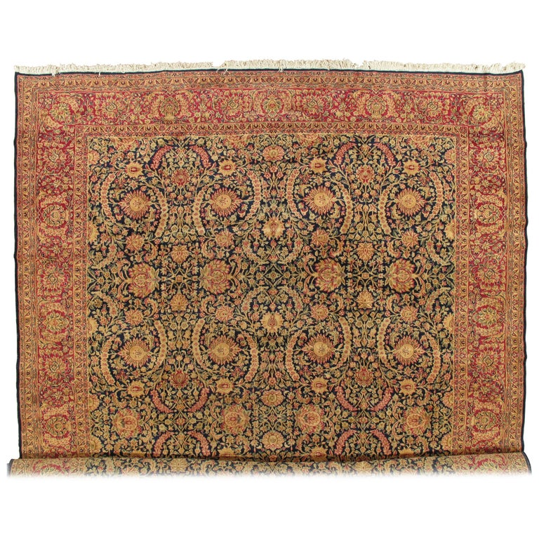 Antique Kerman Carpet, Persian Handmade Oriental Rug, Red and Blue, Allover For Sale