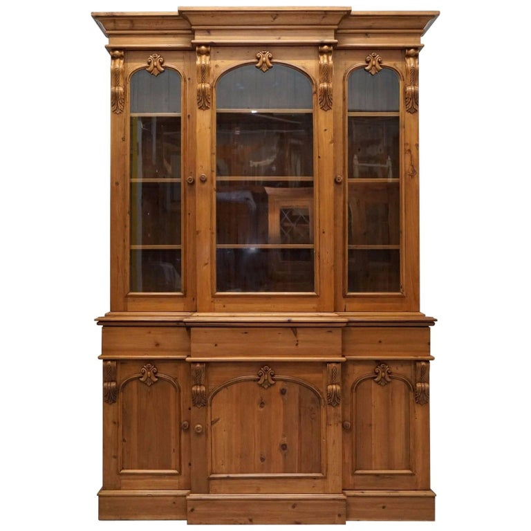 Antique English Pine Breakfront Hand-Carved Wood Welsh Bookcase Cabinet