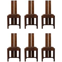 Set of Six Samuel Chan Alba Walnut Dining Chairs for Channels of Chelsea