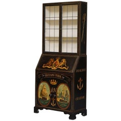 Museum Quality Victorian Hand-Painted Royal Navy Chatham Writing Bureau
