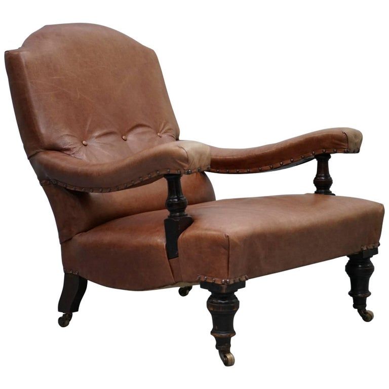 Fully Restored Edwardian Aged Brown Leather Library Reading Armchair, circa 1900 For Sale