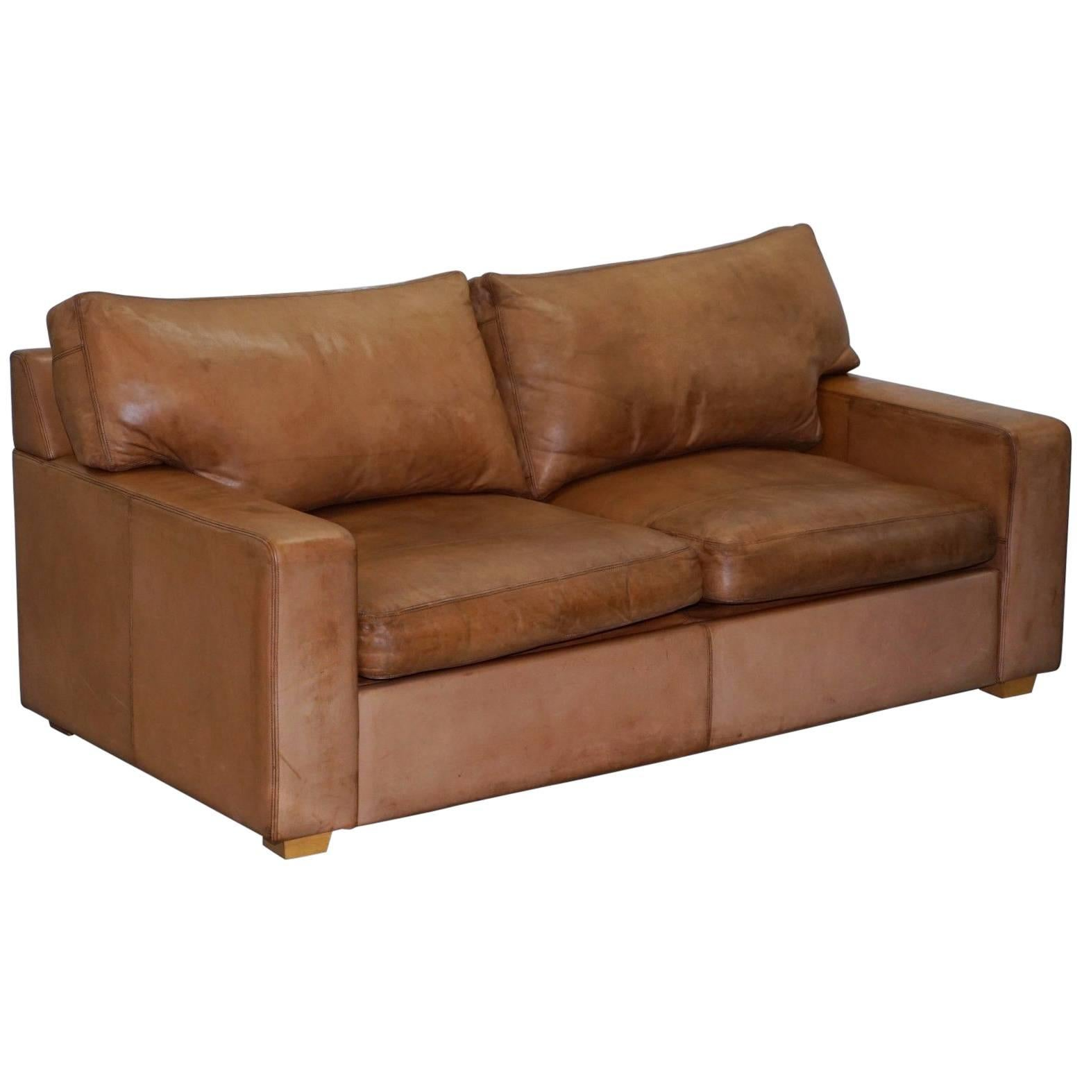 Collin And Hayes Aged Brown Leather Sofa Bed With Feather Filled Cushions  For Sale
