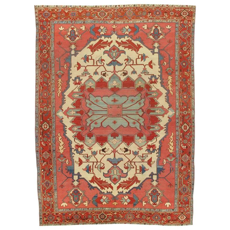 Ivory Wool And Silk Persian Naein Area Rug For Sale At 1stdibs: Antique Persian Serapi Carpet, Handmade Rug Ivory, Light