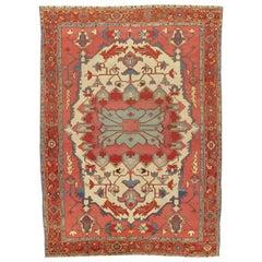 Antique Persian Serapi Carpet, Handmade Rug Ivory, Light Blue, Rusty Red