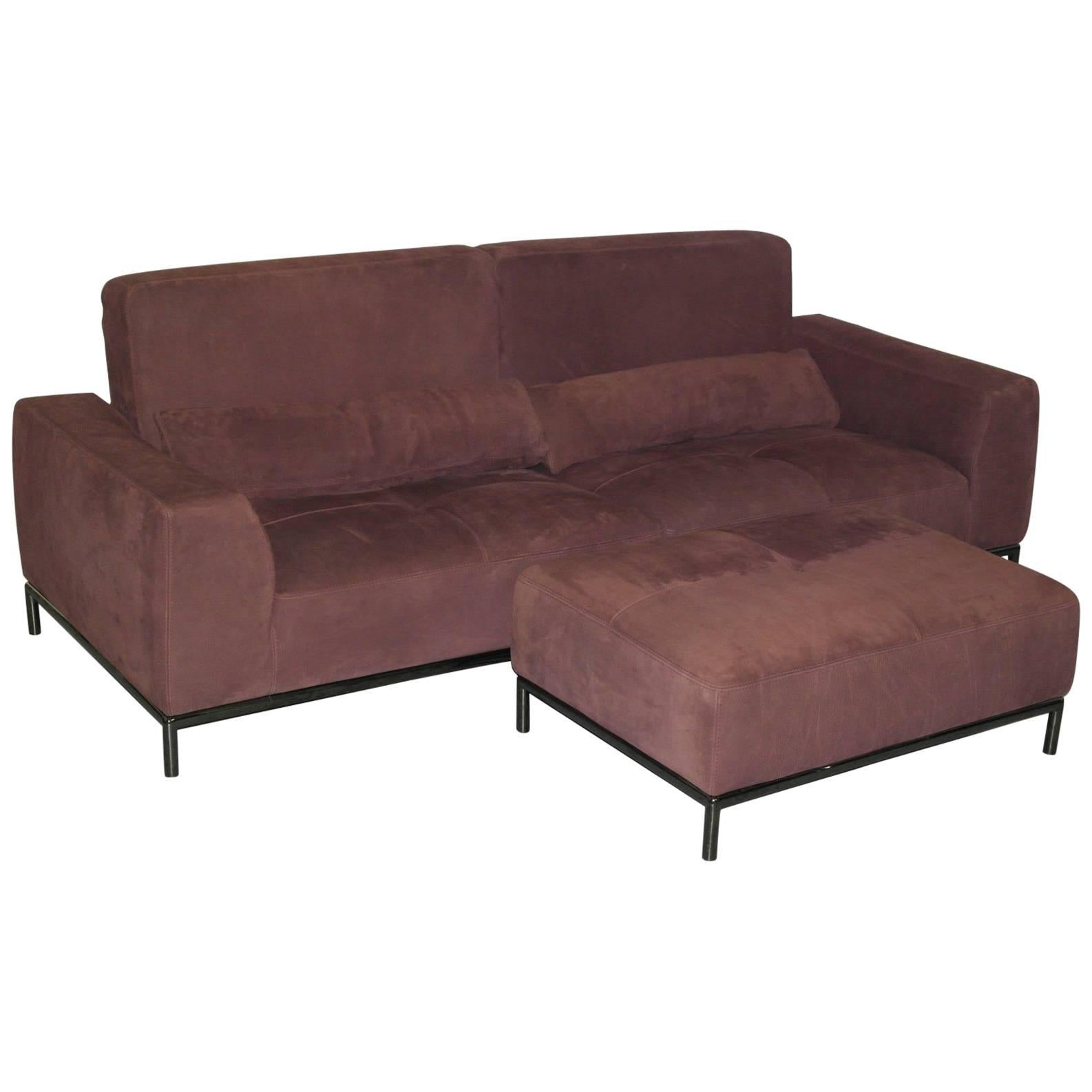 Nubuck Velvet Leather Recliner, Four Seater Sofa And Footstool For Sale