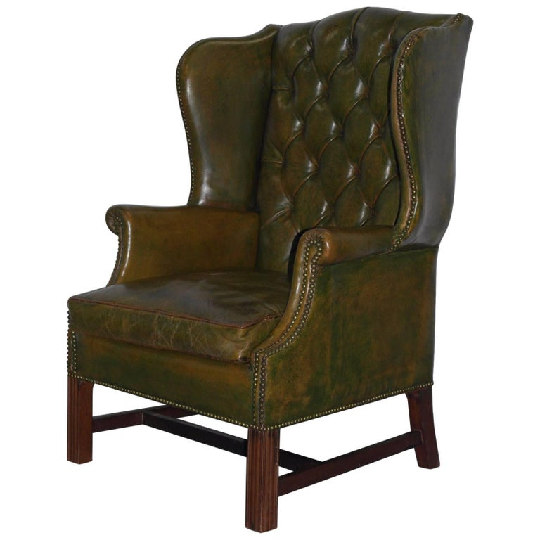 Georgian Chesterfield Aged Green Leather Wingback Fireside Armchair, George III