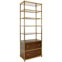 Brass and Walnut Frasier Etagere by Baker, Laura Kirar Collection