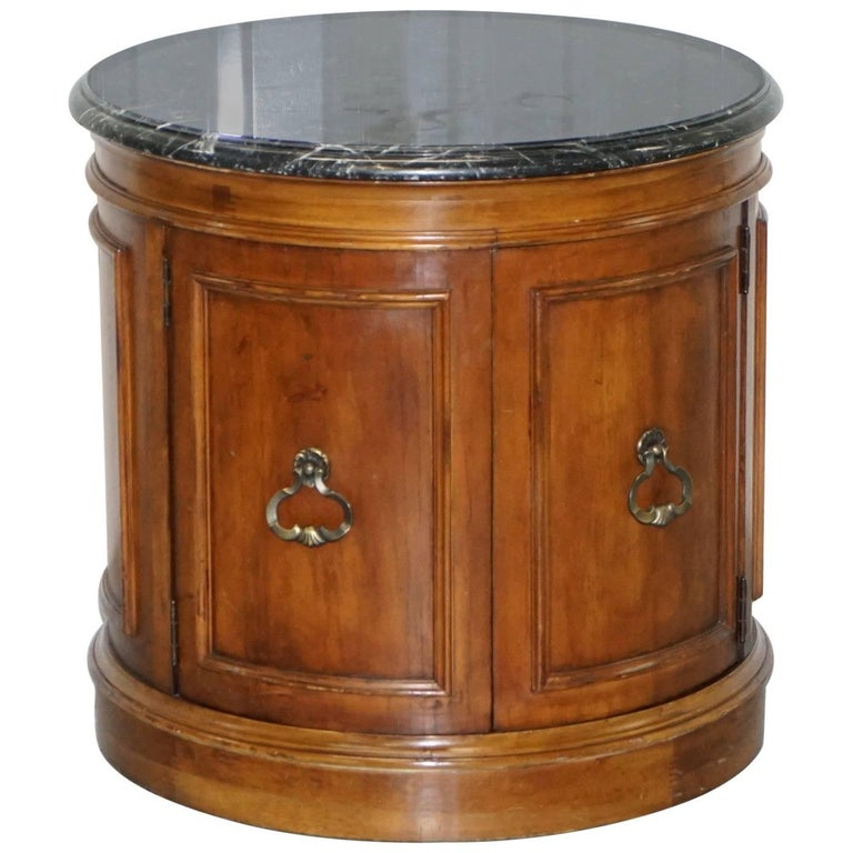 Regency Style Mahogany Marble Topped Large Drum Table