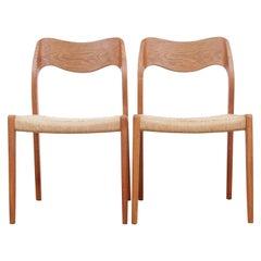 Mid-Century Modern Danish Chair in Oak Model 71 by Niels O. Møller