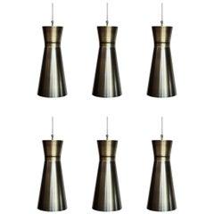6 Hugh Modernist Diabolo Pendant Lamps, Brushed Aluminium, Made in Germany, 1960