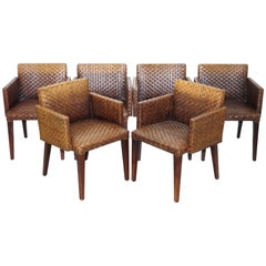 Set of Six Leather Woven Dining Chairs