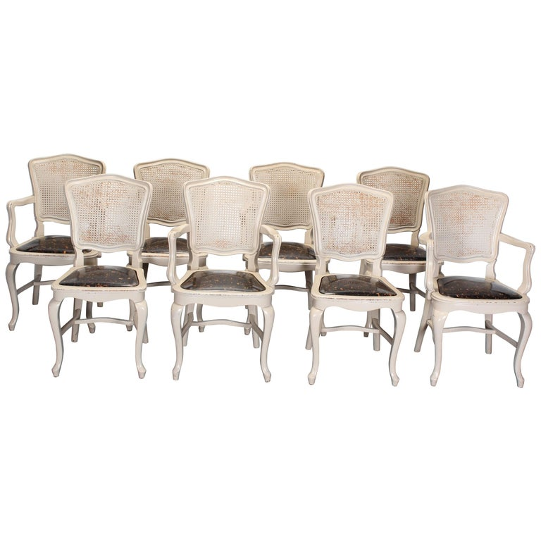 Set Of Eight Cane Back Louis Xv French Style Chairs 1
