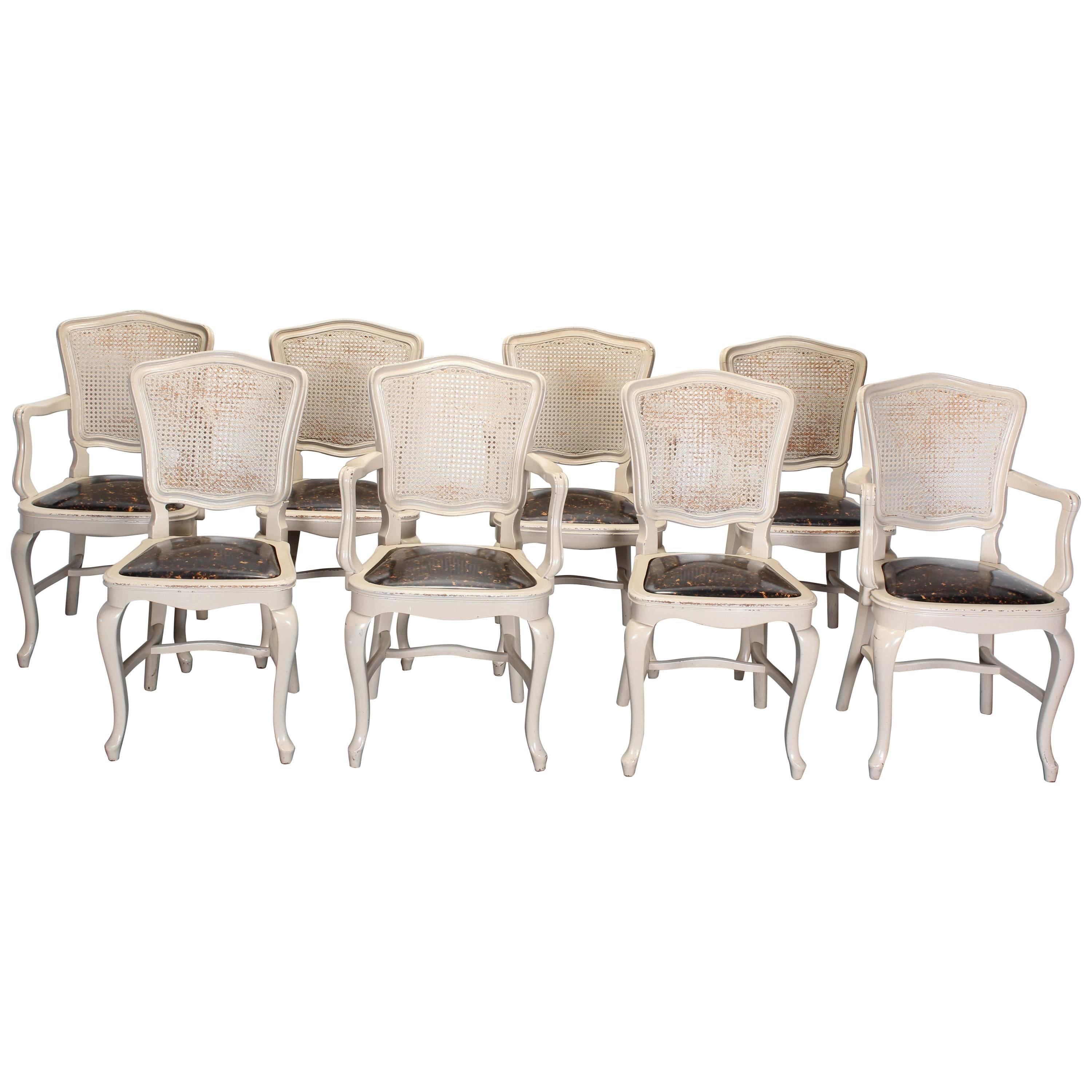 set of eight cane back louis xv french style chairs