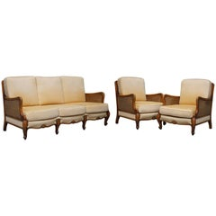 Early 20th Century Swedish Walnut Bergere Suite, Sofa and Pair of Armchairs