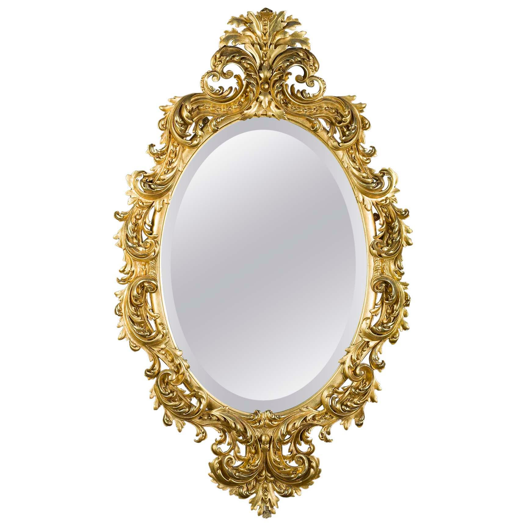 Ornate French Rococo Style Giltwood Mirror, 19th Century