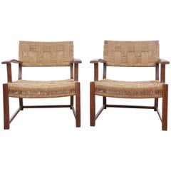 Mid-Century Modern Pair of Armchairs with Woven Sea Grass by Fritz Schlegel