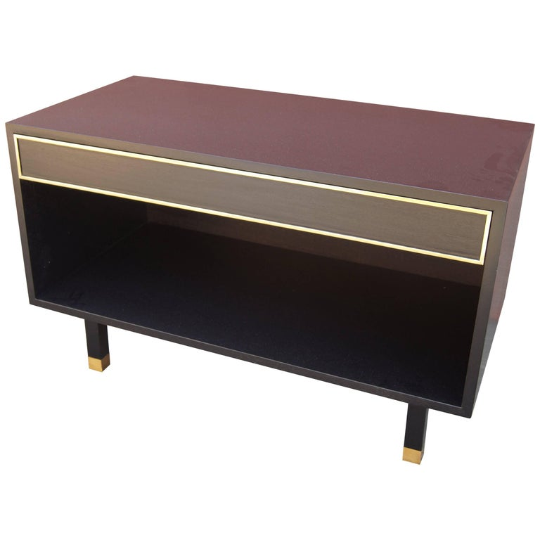 Ebonized Mahogany and Brass Chest or Nightstand by Harvey Probber