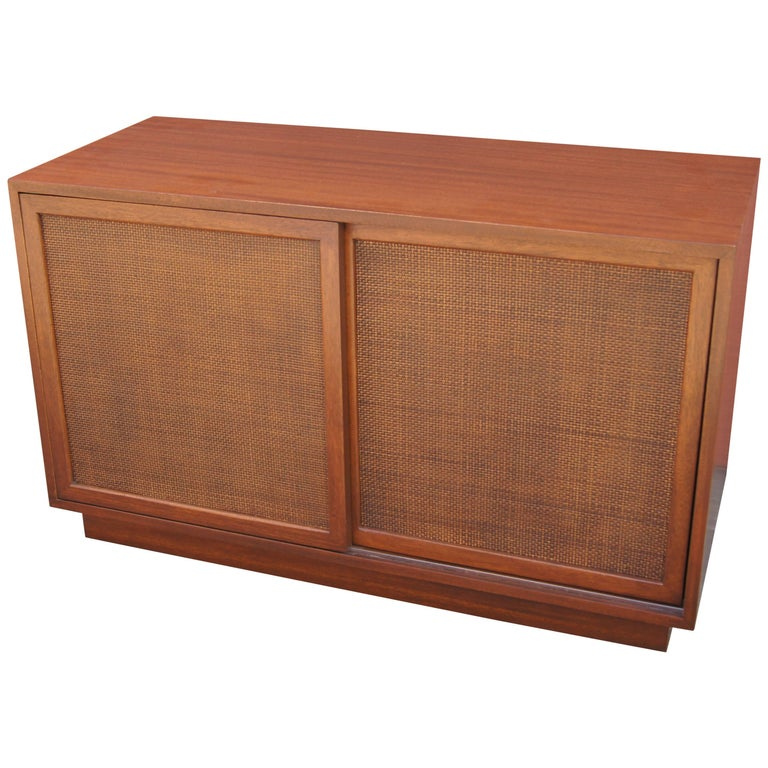 Small Cabinet with Cane Doors by Harvey Probber