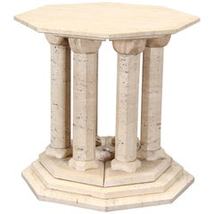 Travertine Marble Occasional Octagon Side Table