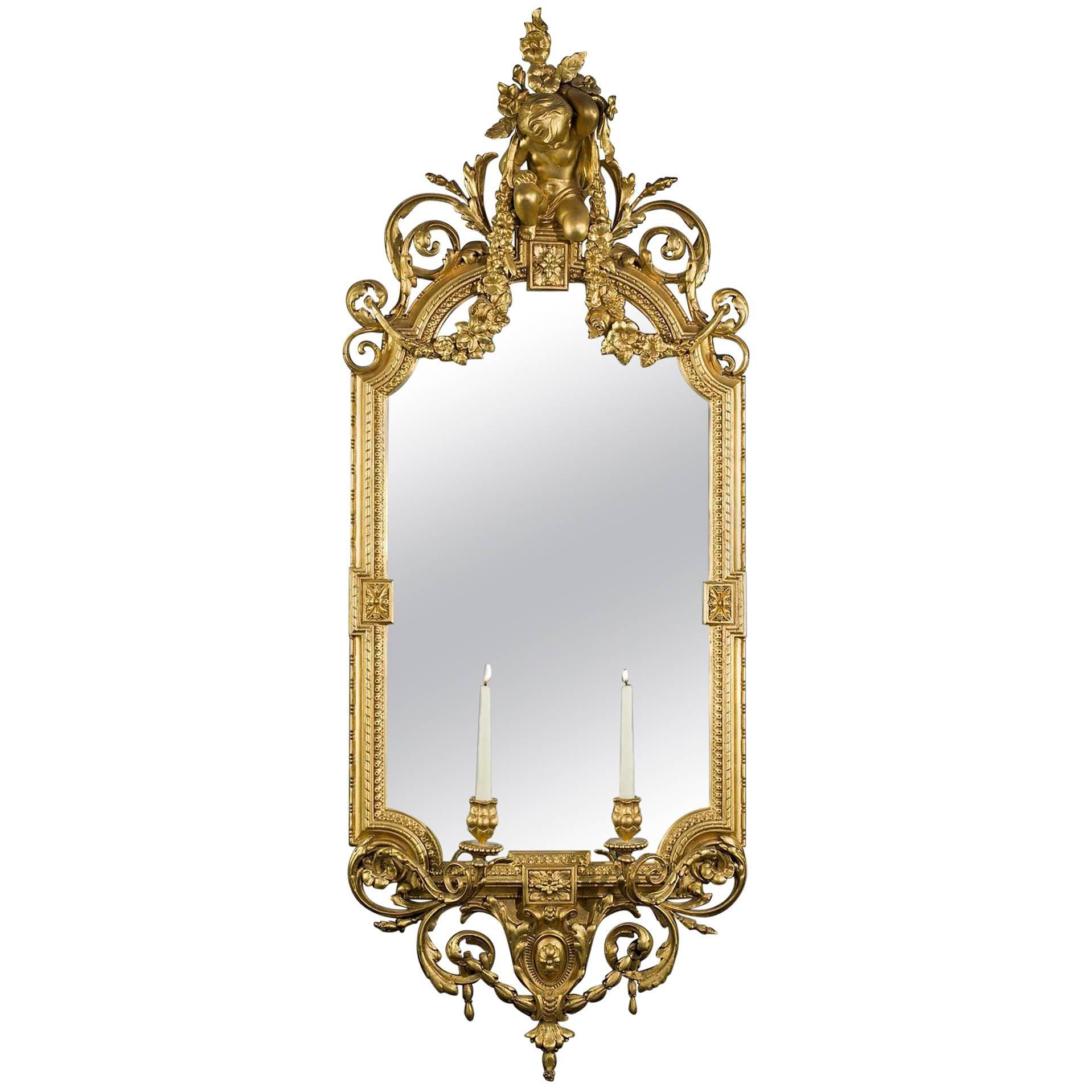 Antique Giltwood and Gesso Louis XV Style Girandole Mirror