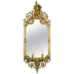 Antique Giltwood and Gesso Louis XV Style Girandole Mirror