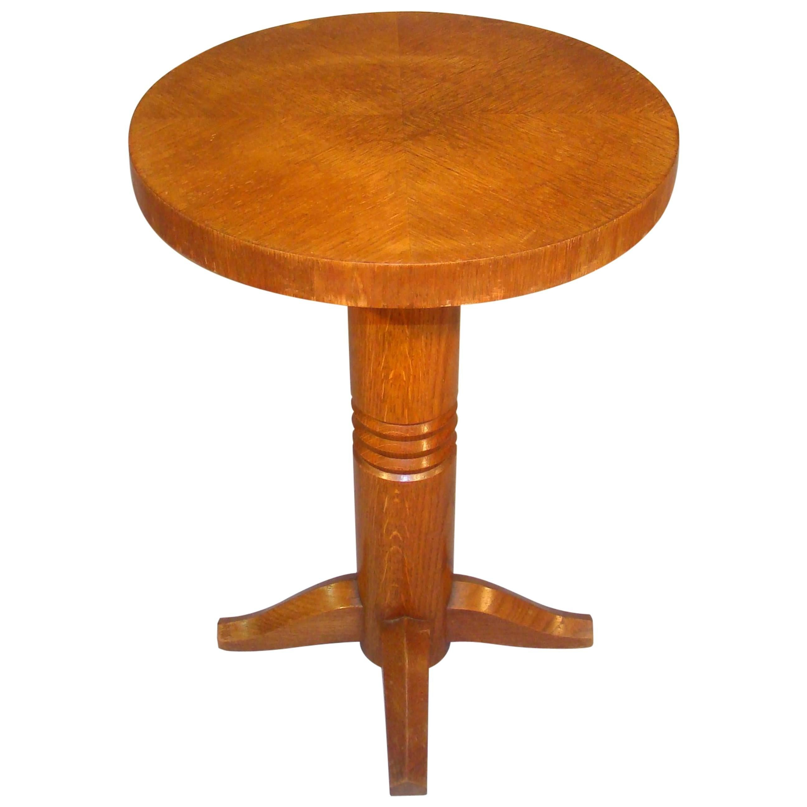 Art Deco Oak Gueridon, circa 1940, in the Style of Charles Dudouyt