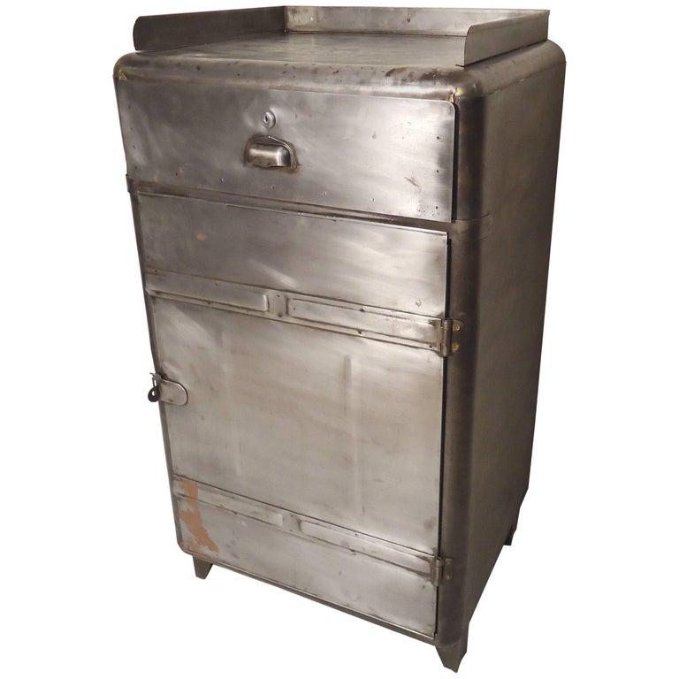 Restored Metal Factory Cabinet