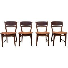 Four Finn Juhl Dining Chairs in Walnut and Teak