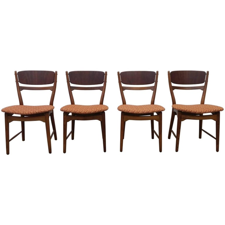 Set of Four Dining Chairs in Walnut and Teak, by Arne Wahl Iversen