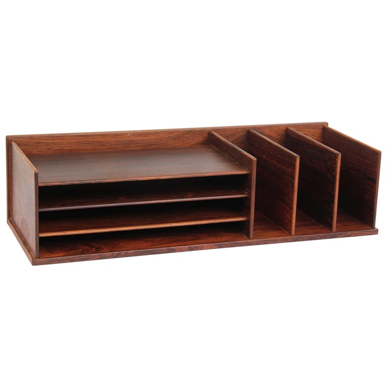 Mid Century Modern Desk Top Organizer In Rosewood At 1stdibs