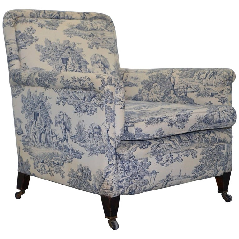 Original WG 1738 Stamped French Club Armchair Inc Toile de Jouy Style Upholstery For Sale