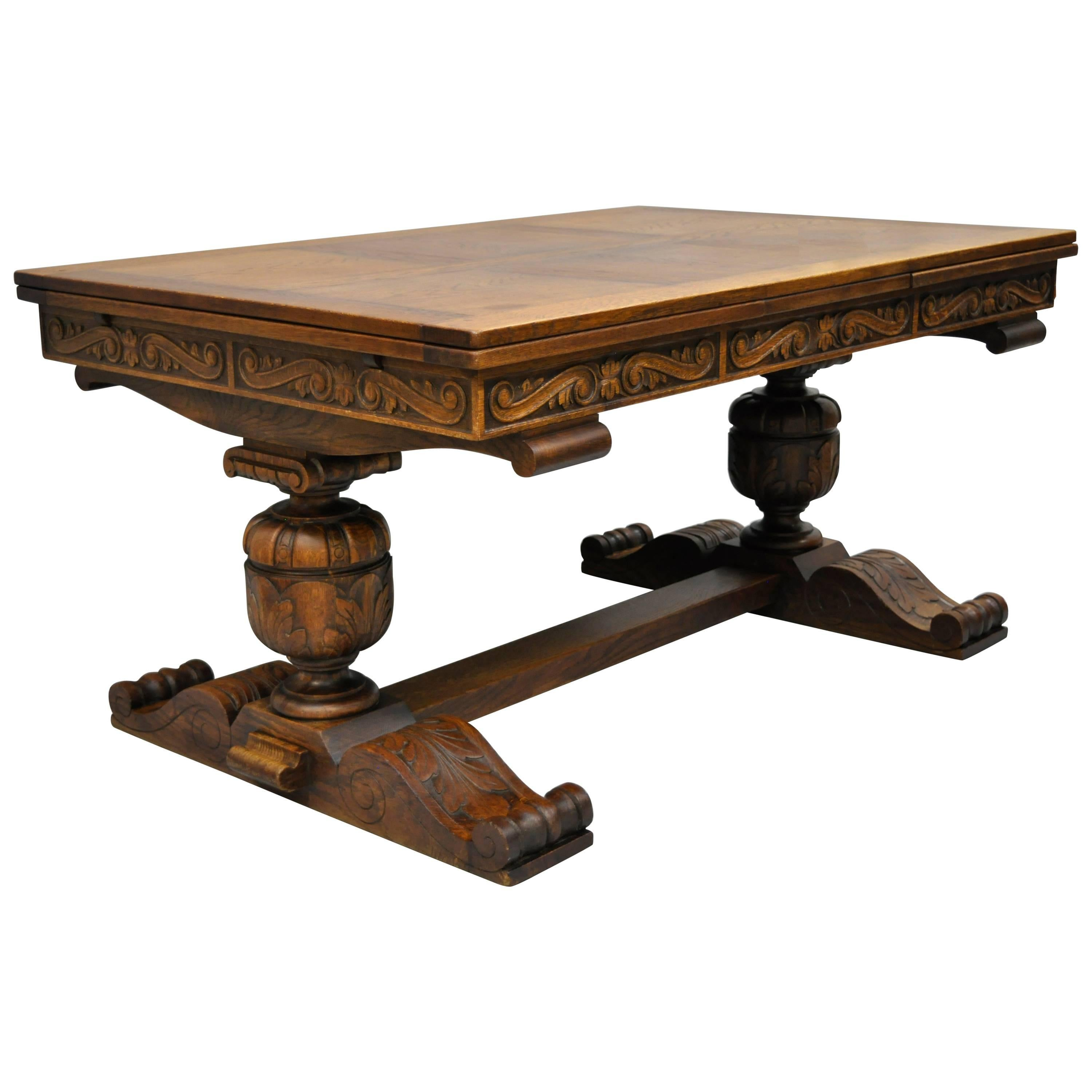 Carved Oak Wood Renaissance Revival Refectory Extension Trestle Dining Table