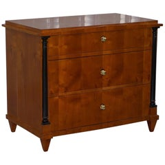 Swedish Biedermeier Cherry Wood Chest of Drawers, Ebonized Pillars, circa 1850
