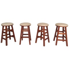 Set of Four Contemporary Modern Stools with Rotating Seats