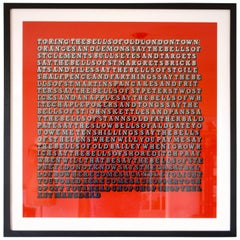 'Oranges & Lemons' Red and Faded Grey Screen Print by Ben Eine, 2016