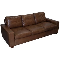Four-Seater Fully Aniline Aged Brown Leather Sofa Bed