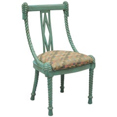 Andre Originals Carved Wood Rope Tassel Italian Style Blue Dining Desk Chair
