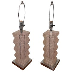 Pair of Contemporary Modern Tinted Pink Lucite Table Lamps