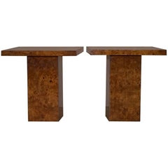 Pair of Art Deco Style Burr Walnut Veneer Lamp Side Tables