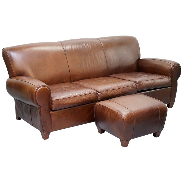 Famechon Sofa With Channeled Back And Seat Walnut Legs: Heritage Aged Brown Distressed Leather Four Seater Sofa