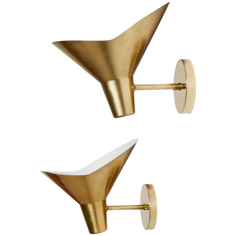 Pair of Brass Sconces by Hans Bergström for Atelje Lyktan For Sale