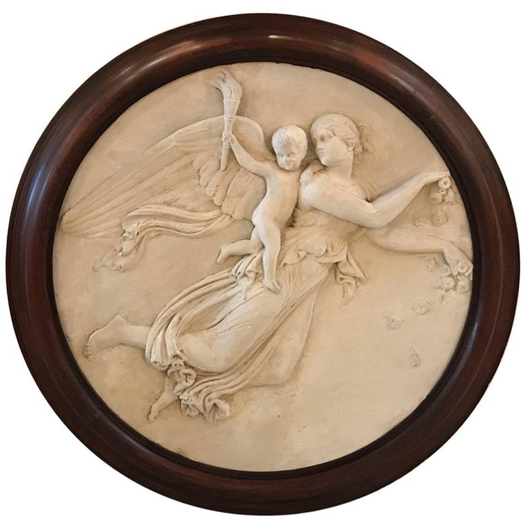Large Italian 19th Century Plaster Relief Plaque in Early Frame