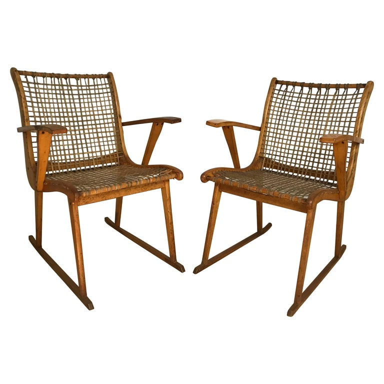 A pair of rawhide and bent ashwood armchairs by Vermont Tubbs Furniture.