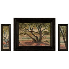 Signed Antique French Triptych Oil on Canvas Paintings of Trees, circa 1900