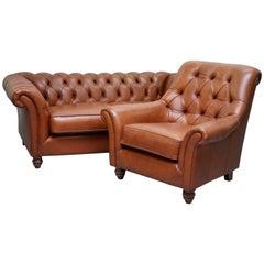Thomas Lloyd Chesterfield Brown Leather Sofa and Club Armchair