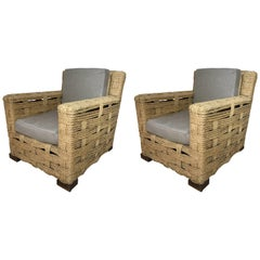Pair of Rope Lounge Chairs by Audoux-Minet