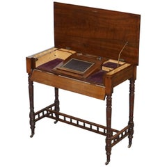 Stunning 1870 Victorian Walnut Campaign Used Military Desk Hidden Writing Slope