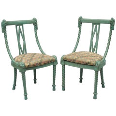 Pair of Andre Originals Carved Wood Rope & Tassel Italian Style Blue Side Chairs