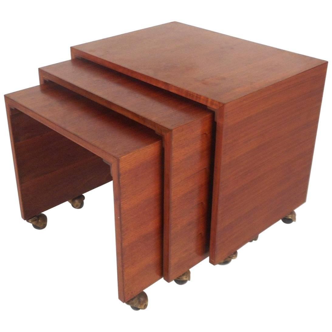 Set of Three Mid-Century Modern Walnut Waterfall Nesting Tables