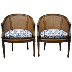 Pair of French Louis XVI Style Walnut and Cane Barrel Back Chairs by Heritage